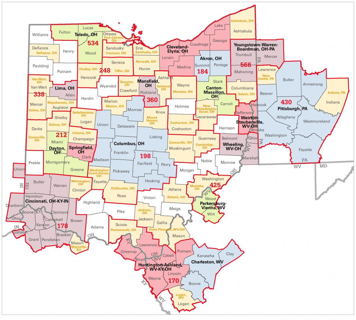 combined statistical areas csas in ohio the map